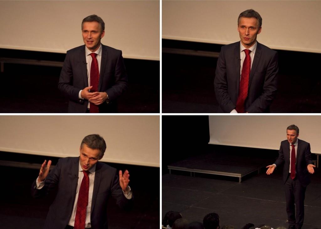 TIL STEDE: Statsminister Jens Stoltenberg ga av seg selv da han talte til Oslo AUF fredag ettermiddag.