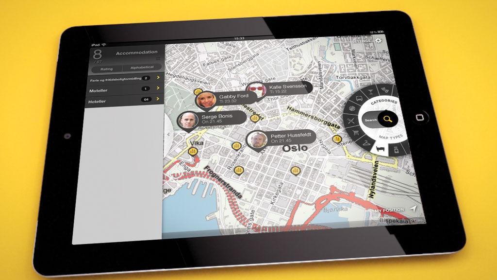 Gule Sider for iPad er bygget med utgangspunkt i hvordan du holder et nettbrett.