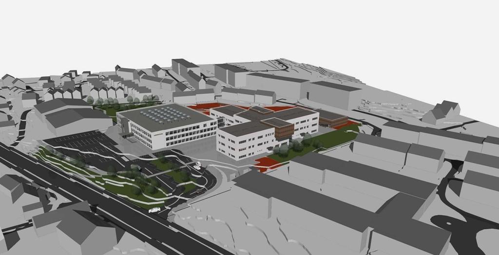PLASS TIL NYE ELEVER: Slik blir nye Nordseter barne- og ungdomsskole seendes ut fra Ekebergveien.