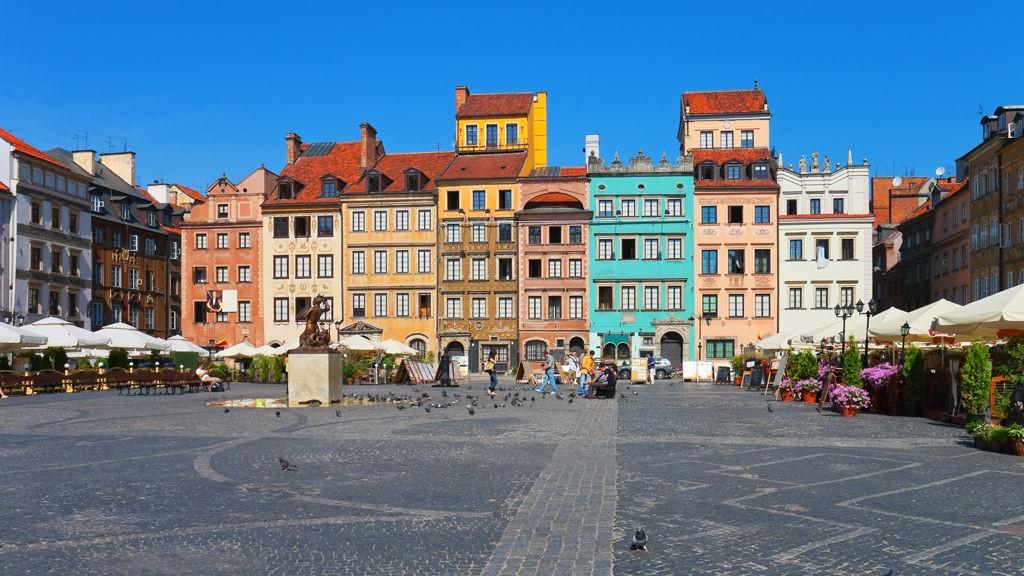 Hovedtorget i Warszawa er vakkert.
