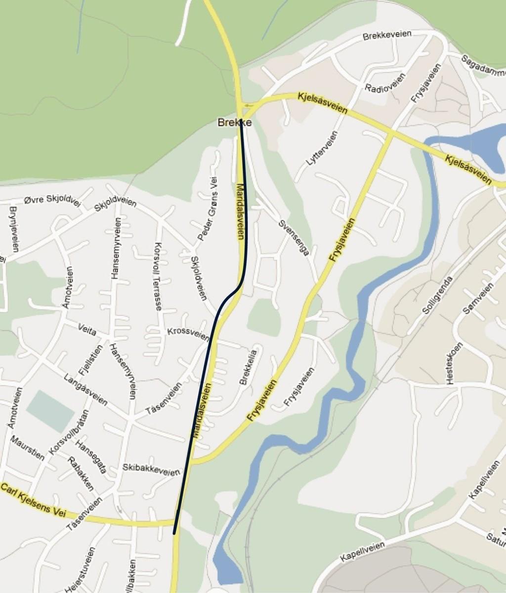 PLANEN: Kommunens plan er sykkelfelt og fortau, på begge sider av Maridalsveien, og i forlengelsen av det som er opp til Carl Kjelsensvei (noe fortau er allerede på nevnte strekning). Den sorte streken viser strekningen.