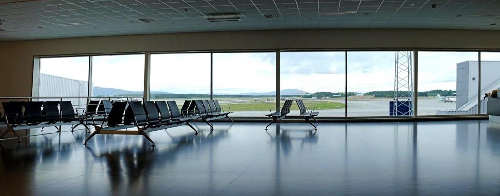 MIDLERTIDIG: Slik ser den ut, Pir Syd, som tas i bruk mandag 3. september. Frem til 2017 skal den brukes, mens flyplassen bygges om.