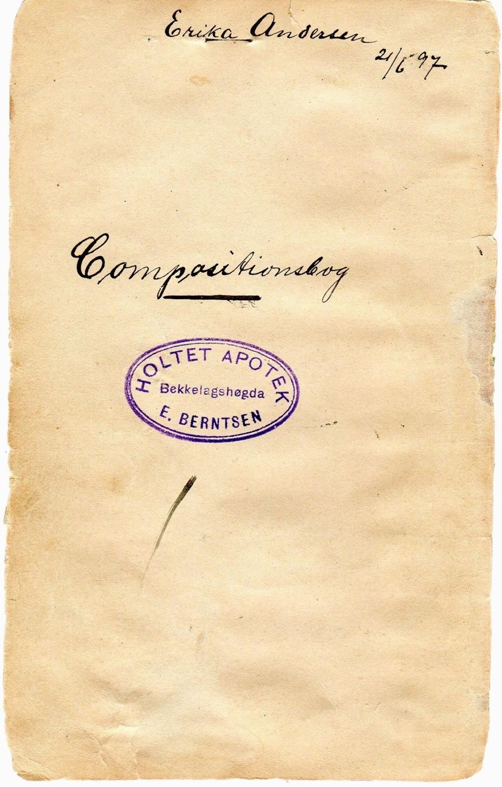 Forsiden av oppskriftsboken til apoteker Erika Berntsen født Andersen.
