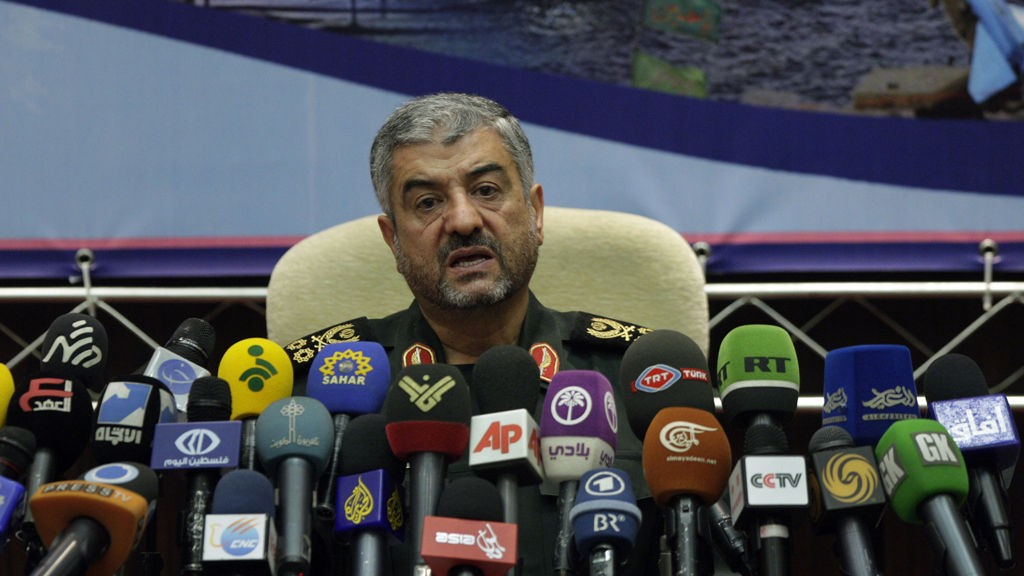 """Commander of Iran's Revolutionary Guard Gen. Mohammad Ali Jafari, speaks in a press conference in Tehran, Iran, Sunday, Sept. 16, 2012. The top commander in Iran's powerful Revolutionary Guard has warned that """"nothing will remain"""" of Israel if it takes military action against Tehran over its controversial nuclear program."""