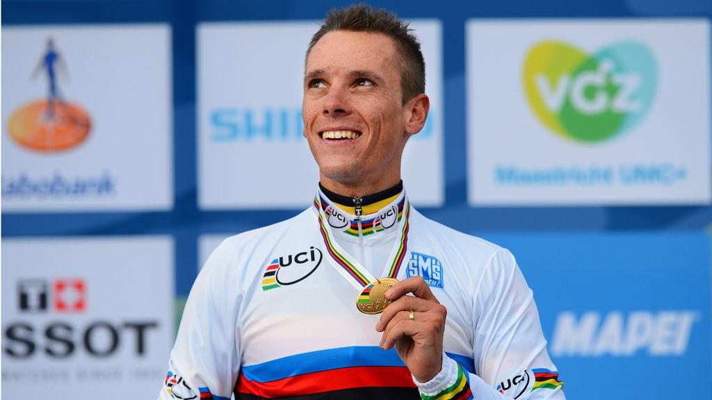 SULTEN VERDENSMESTER: Gilbert jakter sin tredje triumf i il Lombardia. I sa fall blir han del av en eksklusiv klubb som har vunnet rittet i regnbuetrøyen.