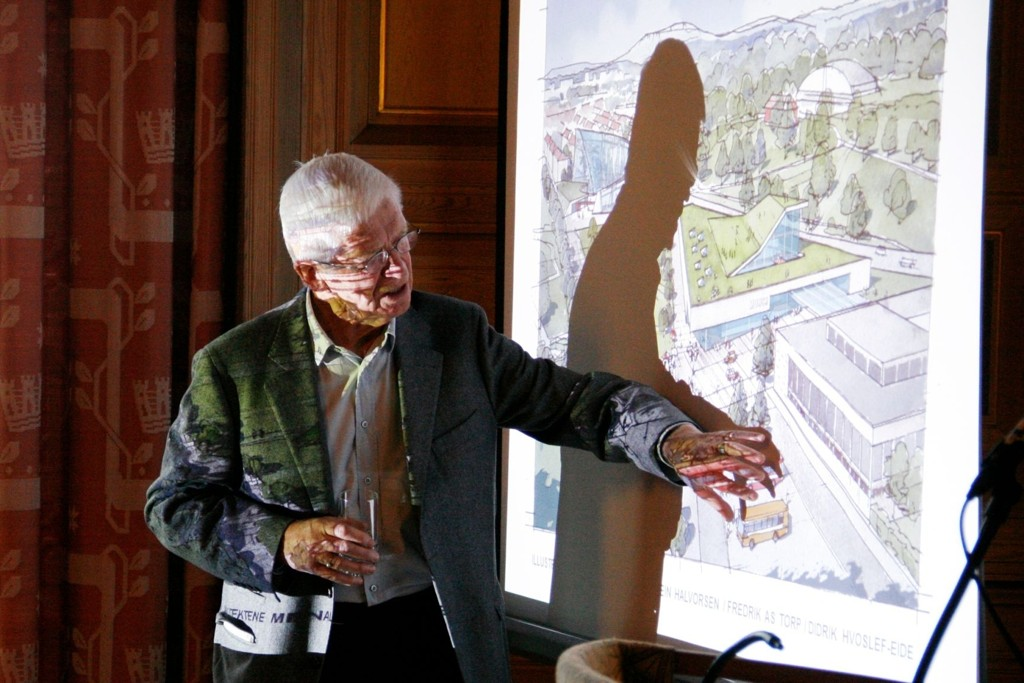 Arkitekt Fredrik Torp presenterte en skisse til hvordan Tøyen kan få Munch-museet til en relativt billig penge, i et møte på rådhuset tirsdag.