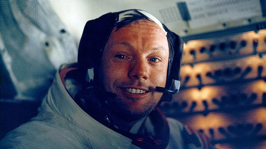 Astronaut Neil Armstrong smiles inside the Lunar Module July 20, 1969. The 30th anniversary of the Apollo 11 Moon landing mission is celebrated July 20, 1999.