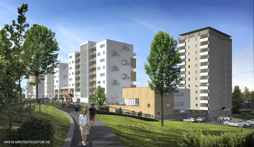 NYE OPPSAL SENTER: Slik ser Obos for seg det nye senteret med barnehage (det brune bygget) sett fra nordøst.
