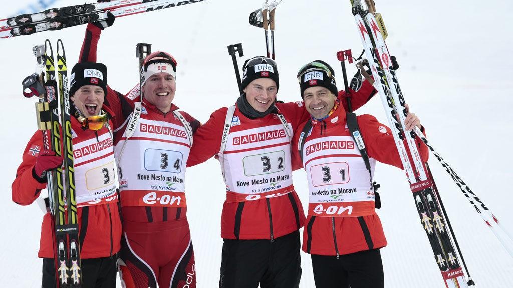 Emil Hegle Svendsen, Tarjei Bø, Henrik L'Abee-Lund og Ole Einar Bjørndalen tok gull under herrenes 7,5 x 4 stafett i VM i skiskyting i Nove Mesto