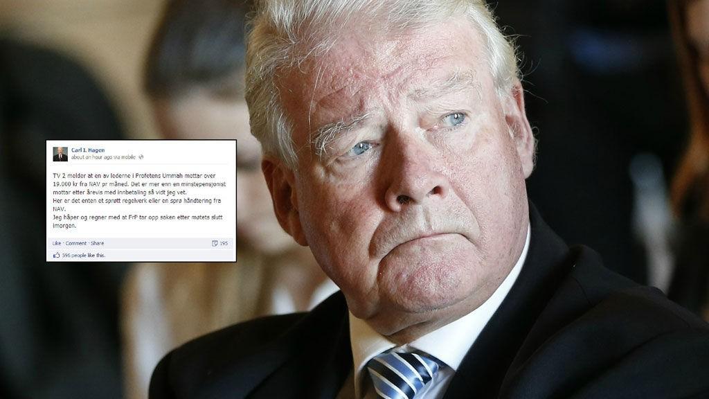 REAGERTE: Carl I. Hagen la ut en oppgitt melding på Facebook etter å ha sett TV 2-nyhetene tirsdag kveld.