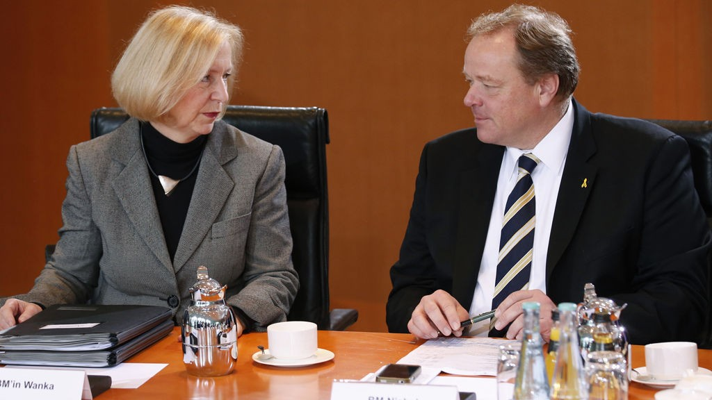 New Education Minister Wanka talks to Economic Cooperation and Development Minister Niebel before a cabinet meeting at the Chancellery in Berlin