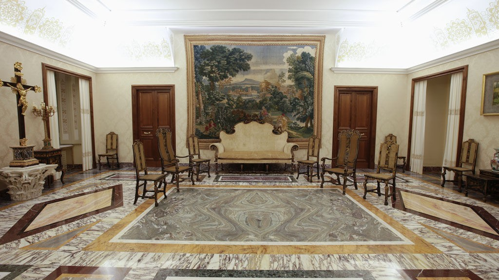 "The ""Chinese room"" is seen inside the summer residence of Pope Benedict XVI in Castel Gandolfo, south of Rome, February 21, 2013. On February 28 the pope will take a helicopter to the papal summer retreat at Castel Gandolfo, where he will stay for around two months."