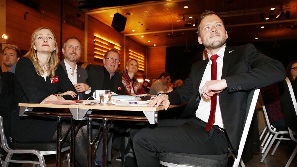 SV landsmøte 2013. Audun Lysbakken, Inga Marte Thorkildsen og Bård Vegar Solhjell under SVs landsmøte på Lillestrøm fredag.