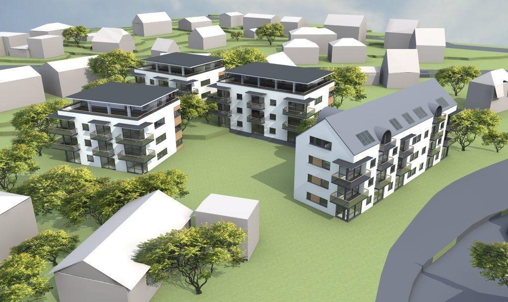 KONGSVEIEN 82: Skisse over det planlagte byggeprosjektet i Kongsveien 82. Rundt 40 leiligheter er planlagt på tomten. På skissen ser du Kongsveien til høyre. Illustrasjon: Neptune Properties