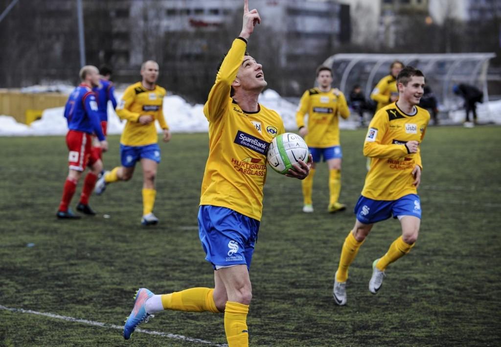 UAVGJORT: Rocky Rexhep Lekaj feirer etter å ha utlignet til 1-1 på straffespark I første omgang. Alle foto: Eirik Bjørklund