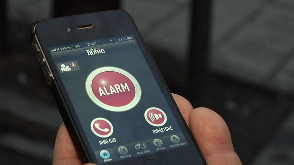 NY APP: Trykker du på alarmen, blir nærmeste vekter sendt til stedet der du er.