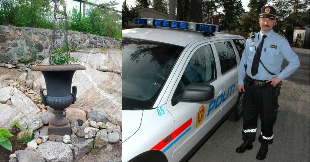 ADVARER: Dag Harald Drevsjø på Manglerud politistasjon ber folk låse eller ta inn dyre gjenstander fra hagen.