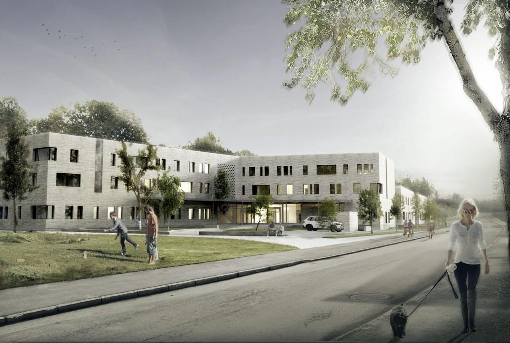 FERDIG 2015: Søndre Oslo distrikspsykiatriske senter skal åpne sitt nybygg i Helga Vaneks vei mellom Mortensrud gård og Mortensrud kirke i mai 2015.