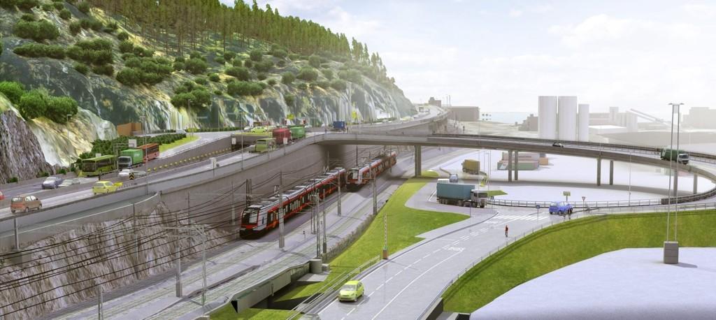 SYDHAVNA: Slik skal den nye atkomsten til Sydhavna se ut. En bro vil gå over jernbanelinjen fra en seksarmet rundkjøring på E18. Begge illustrasjoner: Statens vegvesen/Vianova