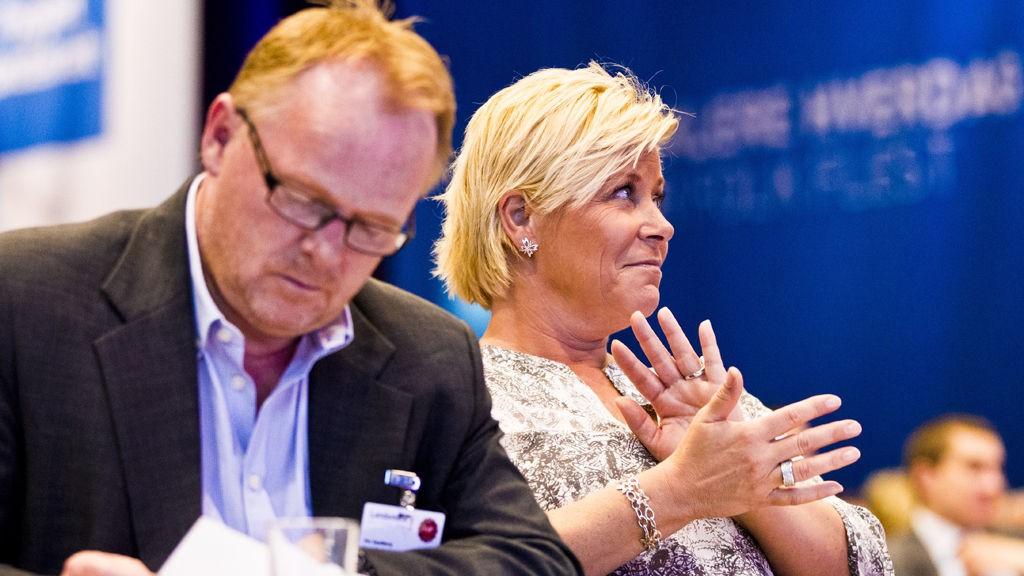 Partileder Siv Jensen sammen med Per Sandberg, 1. nestleder i Fremskrittspartiet.