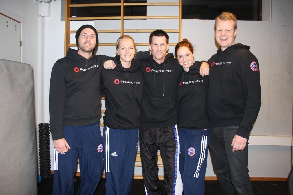 Erik Brødreskift (f.v), Ida Elise Abrahamsen, Tom Erik Steinsland Veteran og  Ina Grindheim drar til VM lørdag. Kristian Bysheim er også med i klubben.
