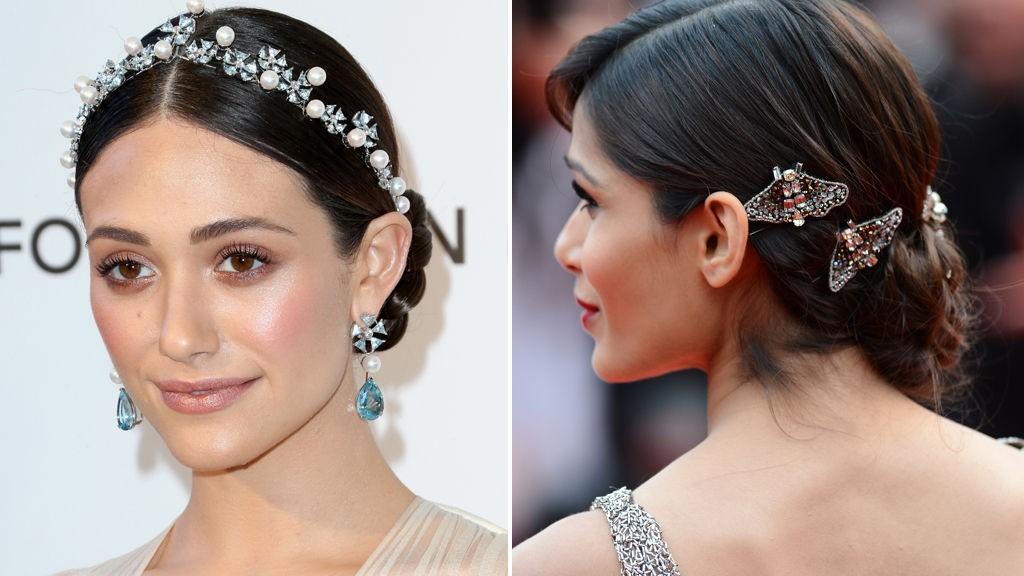 HÅRPYNT: Emmy Rossum og Freida Pinto er nydelige i to forskjellige typer hårpynt.