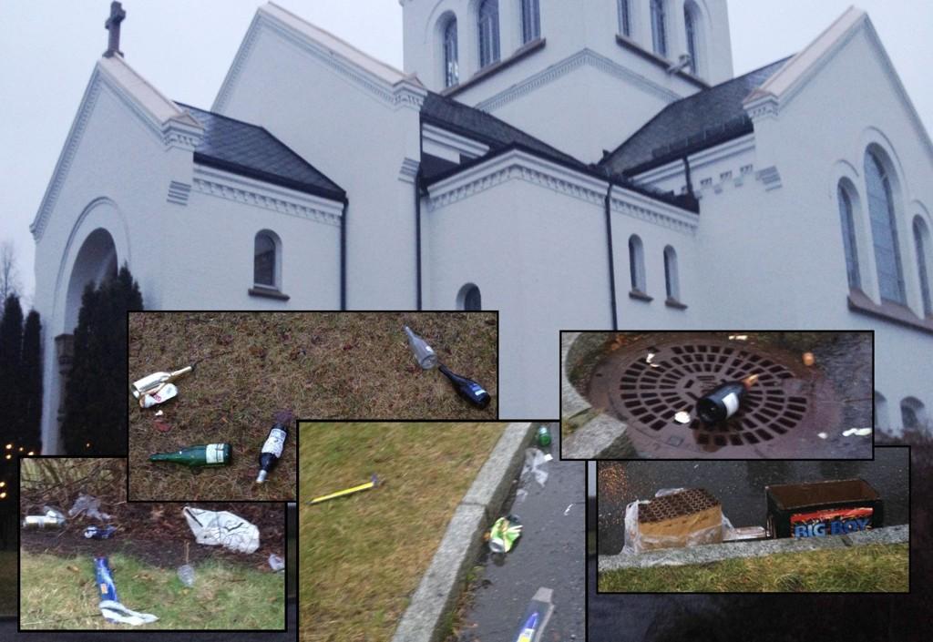 UVERDIG: Dette synet møtte begravelsesfølget i Ullern kirke i dag. Uverdig, mener daglig leder i kirken.