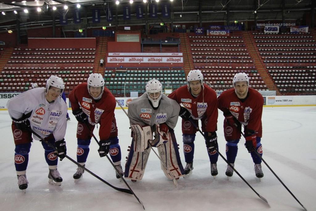 Fra venstre: Alexander Bonsaksen (27), Morten Ask (33), Steffen Søberg (20), Sondre Olden (21) og Daniel Sørvik (23) er klare for OL i Sotsji