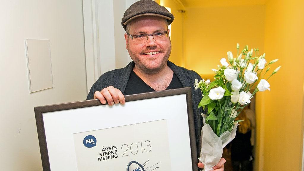 """VANT PRIS: Gunnar Tjomlid inngikk et bloggsamarbeid med Nettavisen i januar i år. Onsdag kveld vant han prisen """"Årets sterke mening"""" på bloggernes festaften, Wixen Blog Awards i Oslo."""