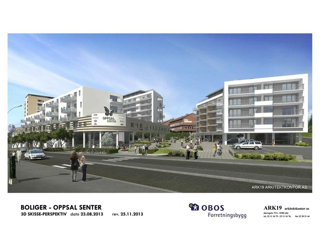 NYE OPPSAL SENTER: Slik ser Obos nå for seg Oppsal senter, i et helt nytt utbyggingsforslag med ti butikker, 205 boliger og større torg enn tidligere.