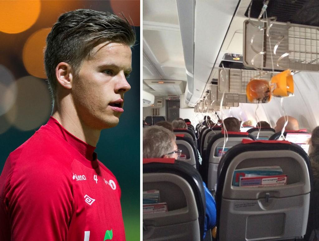 Molde-keeperen Ørjan Nyland twitret et bilde av surstoffmaskene som ble utløst i flyet da laget skulle til Bodø for å spille treningskamp. Ifølge lagkamerat Tommy Høiland luktet det svidd i kabinen. Kampen ble avlyst.