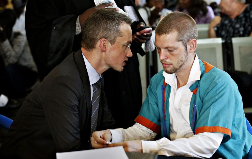 Joshua French i rettssalen i Ndolofengselet under rettssaken hvor han denne uken ble dømt for drap på Tjostolv Moland.