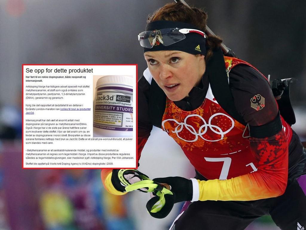 ADVARTE: Antidoping har advart mot stoffet som skal ha gjort utslag på Sachenbacher-Stehles dopingprøve. P.S: Produktet som er avbildet i det innfelte bildet har ikke nødvendigvis sammenheng med saken. Foto: Michael Dalder / Faksimile antidoping.no