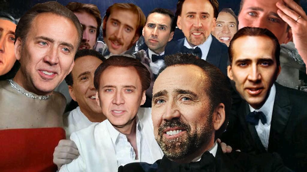 SELFIE: Nicolas Cage er den nye Kevin Bacon - mannen som dukker opp overalt. Nå også på Oscar-selfien.