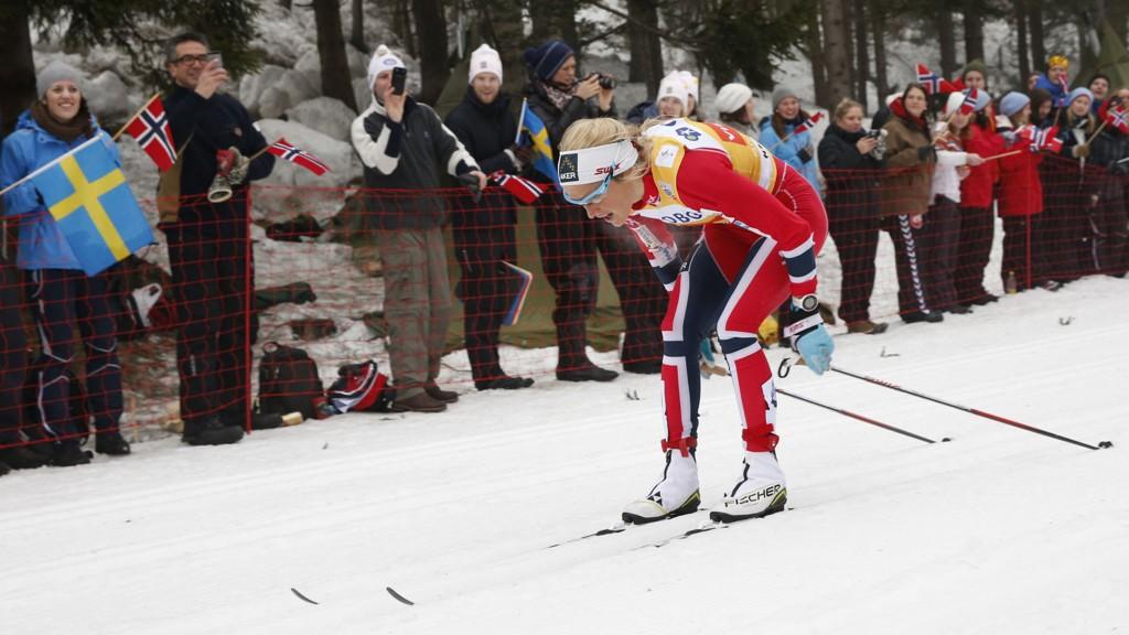 Oslo 20140309. Therese Johaug under søndagens 30 km fellestart langrenn i verdenscupen på ski i Holmenkollen. Foto: Terje Bendiksby / NTB scanpix