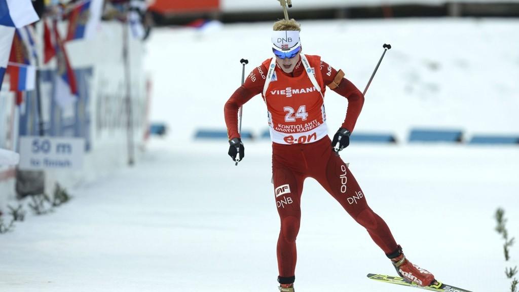 TREFFSIKKER: Johannes Thingnes Bø vant sesongens tredje seier da han gikk inn til førsteplass på skiskyttersprinten torsdag.