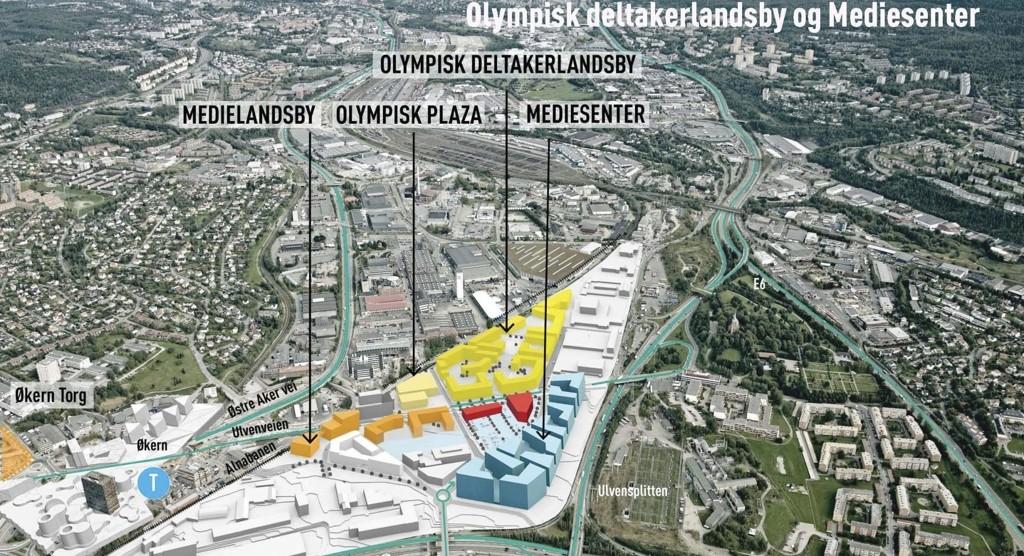ENORMT: Her sentralt plassert på Ulven rett ved Økern, håper eiendomsselskapet Fabritius og Storebrand å bygge deltakerlandsby og medielandsby for et eventuelt OL i Oslo 2022. (ILLUSTRASJON LPO Arkitekter)
