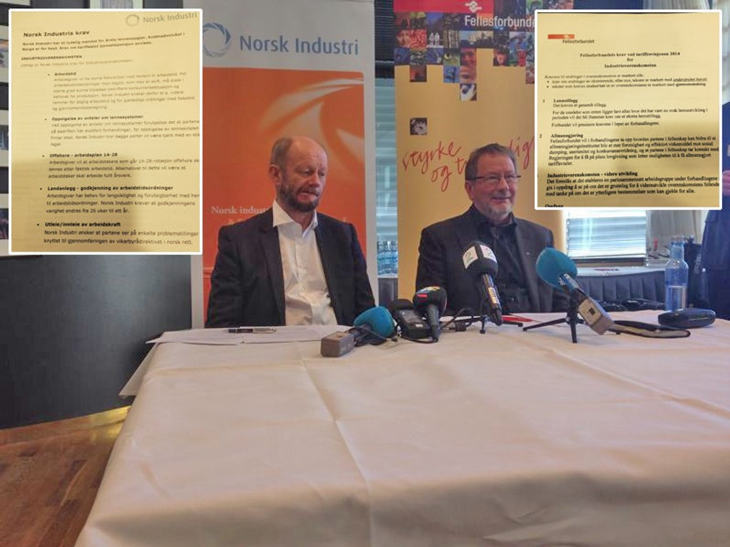 Norsk Industri med Stein Lier-Hansen og Fellesforbundets Arve Bakke har hver sine krav til forhandlingene.