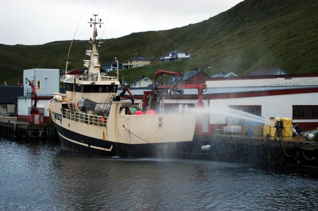 STENGT: Anlegget til Norway Seafood i Skarsvåg har blitt stengt av mattilsynet. (MERK: Båten har ikke noe med saken å gjøre).