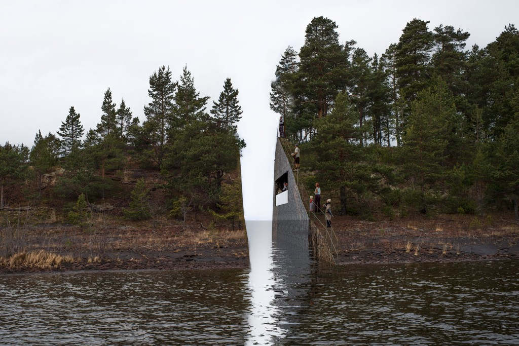 VIL SKAPE ARR: Illustrasjonsbilde av kunstverket som vant konkurransen om et minnesmerke for 22. juli. Vinneren er den svenske kuntneren Jonas Dahlberg. Planen er å grave ut landmasse fra Sørbråten ved Utvika og på den måten skape et arr i landskapet.