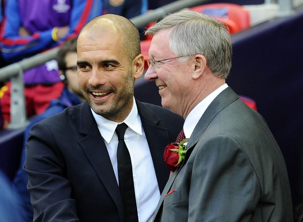 KUNNE HA BLITT UNITED-MANAGER: I en spøkefull tone sa Pep Guardiola at dårlig engelsk kan ha sørget for at han ikke registrerte et jobbtilbud fra Sir Alex Ferguson.
