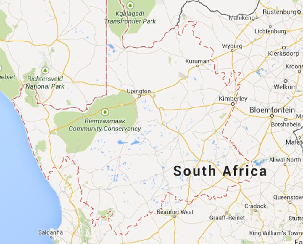 Ulykken skjedde i Northern Cape-provinsen (markert med rød stiplet linje) sør-vest i Sør-Afrika.