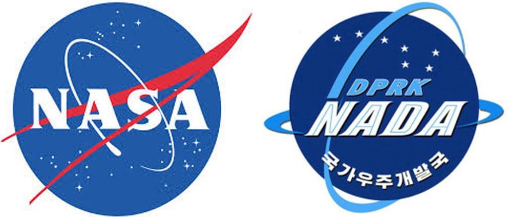 Montasje av logoene til den amerikanske og nordkoreanske romfartsorganisasjon, henholdsvis NASA og NADA.