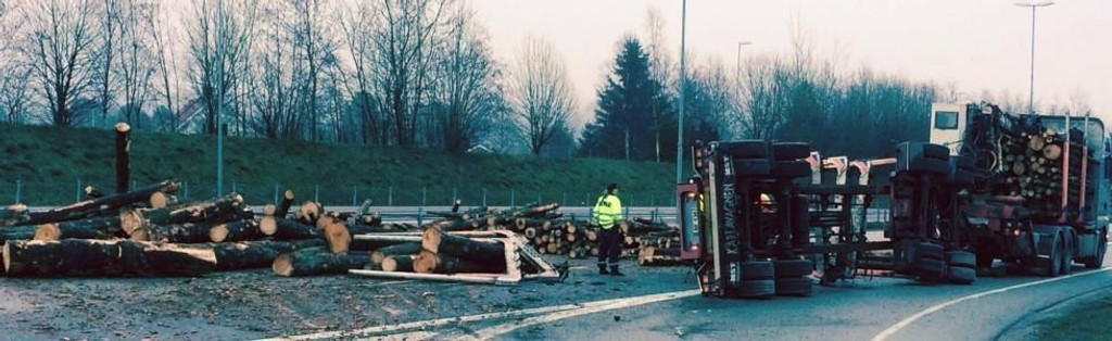 Tømmerbilen veltet ved Missingmyr på E6 sydgående, noen kilometer sør-øst for Moss lufthavn Rygge.