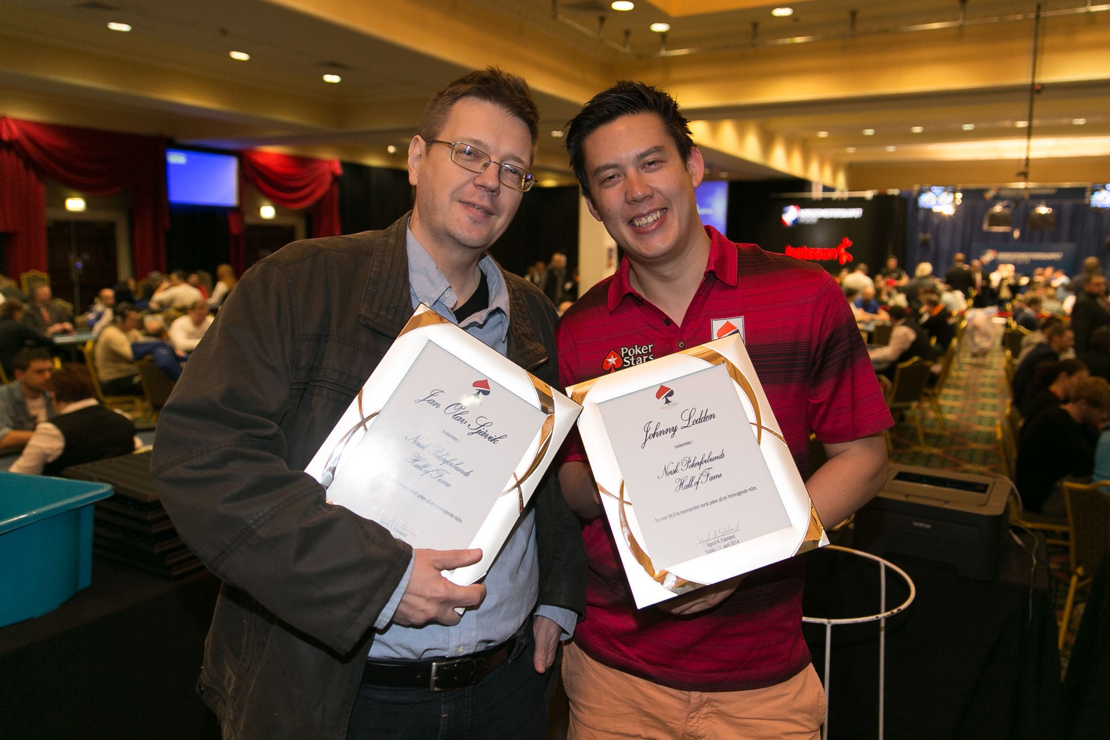 NYE MEDLEMMER: Jan Olav Sjåvik og Johnny Lodden er Norsk pokerforbunds