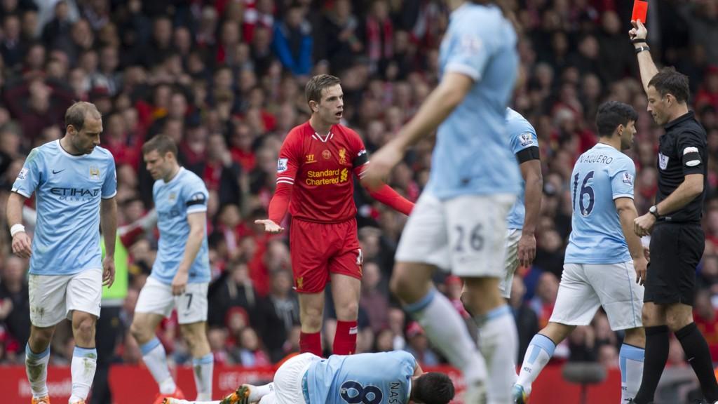 Jordan Henderson pådro seg rødt kort i kampen mot Manchester City, og har enda en kamps karantene igjen.