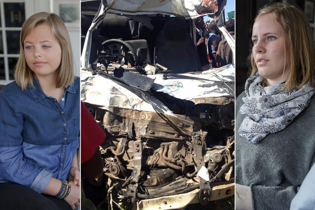 Sunniva Thingnes Leira (t.v.) og Marte Kristine Flaten frå Førde overlevde bussulykka i Kenya i februar.