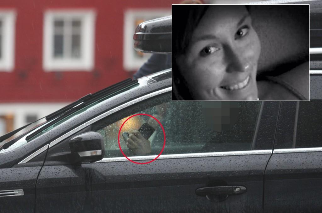 FARLIG: Courtney Sanford (innfelt) mistet livet angivelig som følge av at hun tastet på mobilen mens hun kjørte.