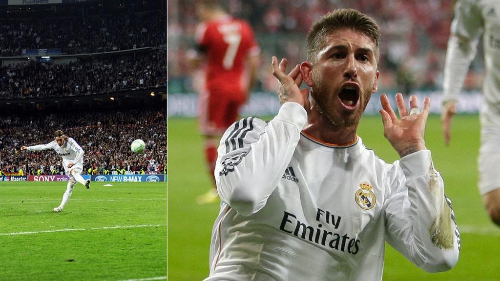 JUBEL: Sergio Ramos scoret to ganger mot Bayern München og revansjerte straffemissen fra 2012 (venstre).
