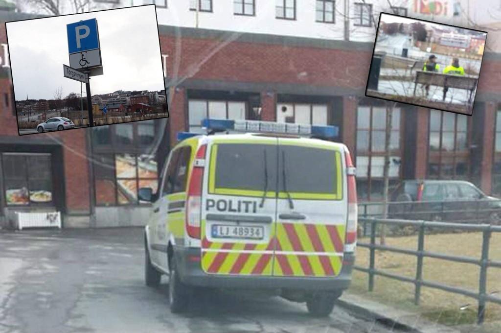 TATT PÅ FERSKEN: Her ser du politibilen står parkert på handikapparkering. I bildet innfelt til høyre ser du politibetjentene spiser is, og i bildet innfelt til venstre ser du skiltet som politiet tydeligvis ikke fant grunn til å overholde.